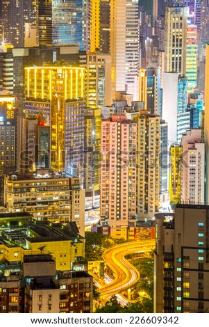 Hong Kong city Skyline from braemar hill at night - stock photo