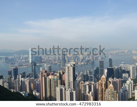 Hong kong City Skyline  from Victoria Peak