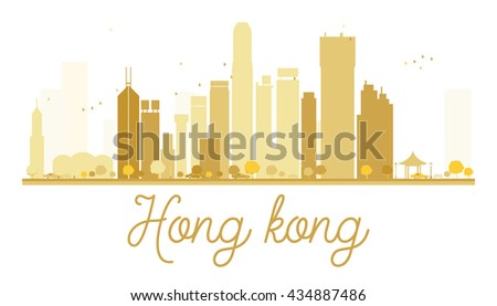 Hong Kong City skyline golden silhouette. Simple flat concept for tourism presentation, banner, placard or web site. Hong Kong isolated on white background - stock photo