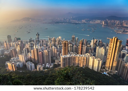Hong Kong city skyline view from The Victoria Peak