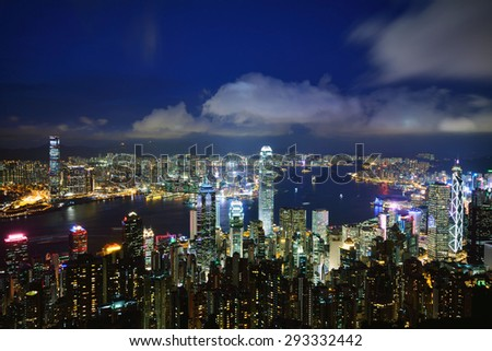Hong Kong city view at night - stock photo