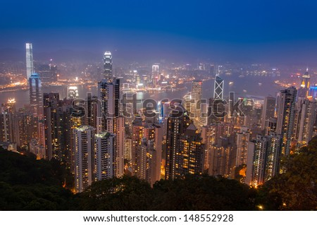 Hong Kong Cityscape at night from The Peak. Good for tourism