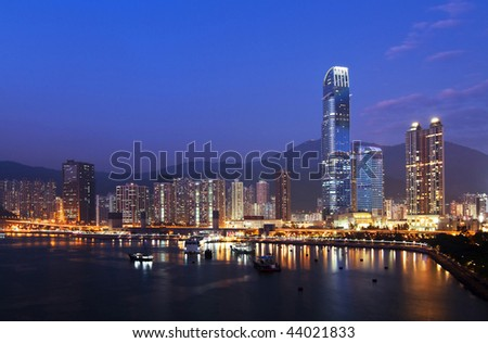 Hong Kong Cityscape. Contemporary Business Towers and Residential Apartment Buildings in Hong Kong at Evening.