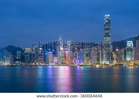 Hong Kong cityscape waterfront over Victoria harbour, night view