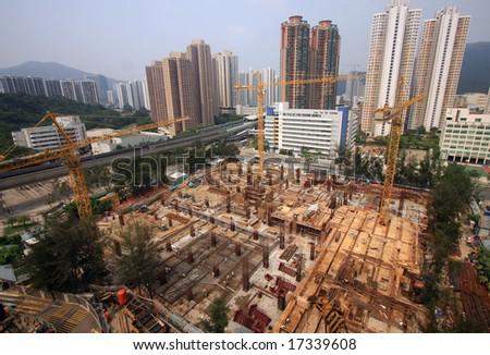 Hong Kong Construction Site - stock photo