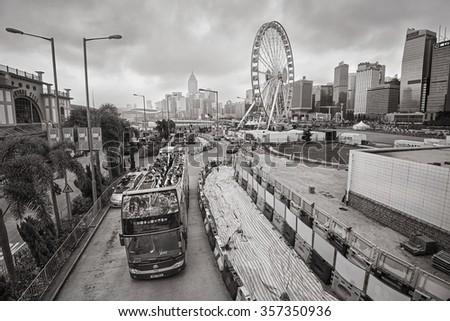 HONG KONG - 21 DEC: View of central Hong Kong on 21 December, 2015 in Hong Kong, China. Hong Kong has a population of 7 million crammed into a city of 1,104 square kilometers. - stock photo