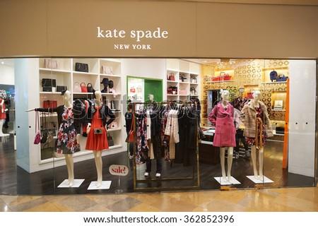 HONG KONG - DECEMBER 25, 2015: Kate Spade storel in Hong Kong. Kate Spade New York is an American fashion design house founded as Kate Spade Handbags - stock photo