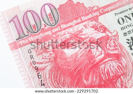 Hong Kong 100 dollar paper bank note macro studio shot - stock photo