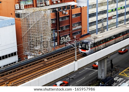Hong Kong downtown area, Train and highway - stock photo