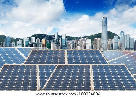 Hong Kong,Ecological energy renewable solar panel plant - stock photo