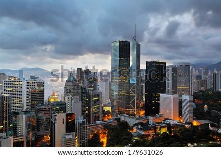 Hong Kong evening - stock photo
