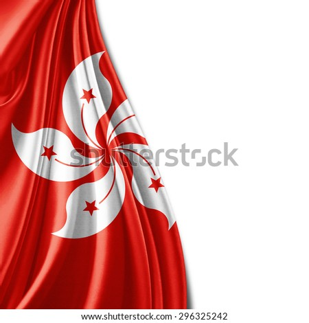 Hong Kong flag  of silk with copyspace for your text or images and white background