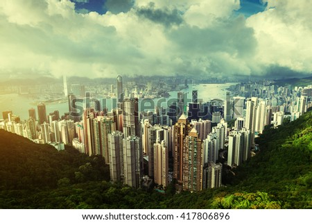 Hong Kong from Victoria Peak - stock photo