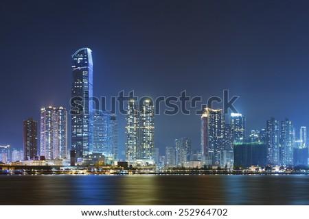 Hong Kong Harbor at night - stock photo