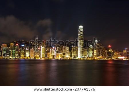 Hong Kong Harbour at night - stock photo