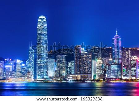 Hong Kong Harbour at sunset - stock photo