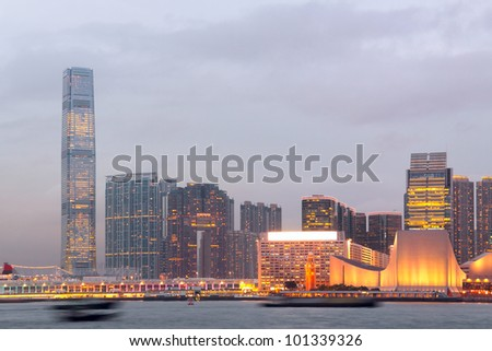 Hong Kong harbour at sunset moment