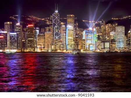 hong kong harbour laser light show - stock photo