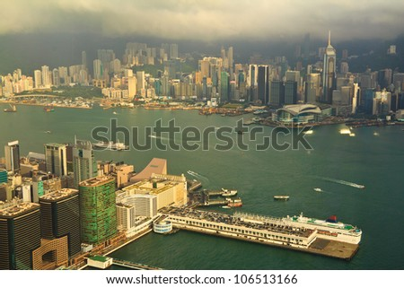 Hong Kong High angle View From 100 floors Building - stock photo