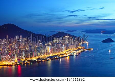 Hong Kong island at night - stock photo