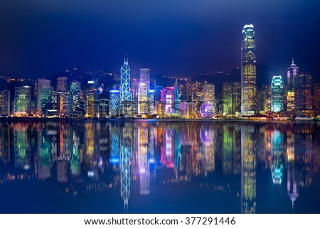 Hong Kong Island from Kowloon, Hong Kong Special Administrative Region of the People's Republic of China. Hong Kong skyline by night, Hong Kong city
