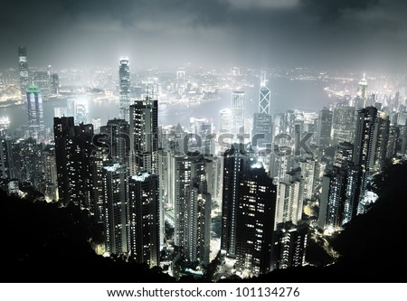 Hong Kong island from Victoria's Peak at night - stock photo