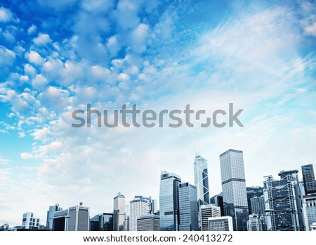 Hong Kong Island skyscrapers. - stock photo