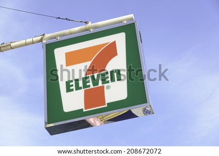 HONG KONG - JULY 29,2014: 7-Eleven logo - 7-Eleven is the world's largest operator, franchiser, and licensor of convenience stores with more than 50,000 outlets. - stock photo