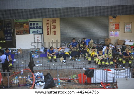 HONG KONG, JUN 24: The fireman still keep to put out the fire in Ngau Tau Kok  on 24 june 2016. second firefighter dies in Ngau Tau Kok blaze, the most serious fire in past 30 year in hong kong.