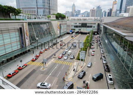 HONG KONG - MAY 7: Central District: Traffic and city life in this Asian international business and financial center. The city is one of the most populated areas in the world. Hong Kong May 7, 2015.