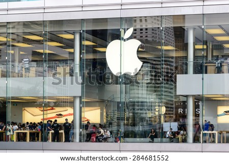 HONG KONG - MAY 1: customers inside apple store in Hong Kong on May 1, 2015. The first Apple Store in Hong Kong, being the 100th overseas store outside the USA opened on September 24, 2011 - stock photo