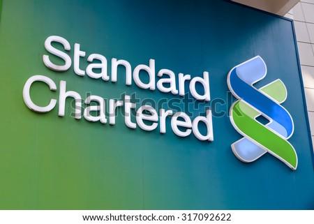 Hong Kong - MAY 6, 2015::Standard Chartered Bank's regional headquarters building in Central, Hong Kong. - stock photo