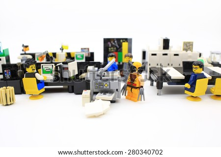 HONG KONG, MAY 2: Studio shot of Lego people, combine from different set in hong kong on 2 May 2015.Legos are a popular line of plastic construction toys manufactured by The Lego Group in Denmark
