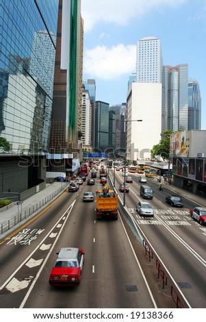 Hong Kong - May 15: Traffic lanes going to the financial district, Hong Kong, May 15, 2008 - stock photo