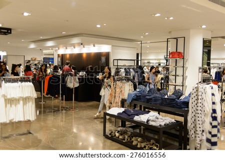 HONG KONG - MAY 05, 2015: Zara store interior. Zara is a Spanish clothing and accessories retailer based in Arteixo, Galicia, and founded in 1975 - stock photo