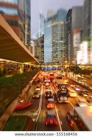 Hong Kong night traffic - stock photo