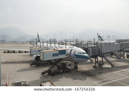 HONG KONG -NOV 7 : Cargoes being loaded to a Cathay aircraft at Hong Kong airport on November 7,2013 in Hong Kong. Aside from China Airlines, Cathay is one of the most busy carriers in the region.