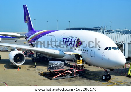 HONG KONG - NOVEMBER 16: A Thai Airways Airbus A380 getting ready for take off on November 16, 2013 in Hong Kong. Thai Airways has six Airbus A380's. - stock photo