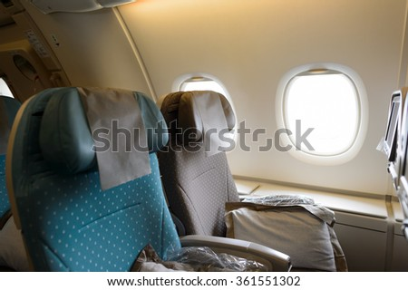 HONG KONG- NOVEMBER 03, 2015: interior of Singapore Airlines Airbus A380. Singapore Airlines Limited is the flag carrier of Singapore which operates from its hub at Changi Airport - stock photo