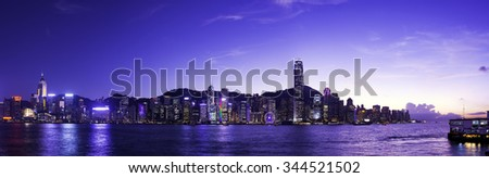 HONG KONG - NOVEMBER 17, 2015 : The Victoria Barbour in Hong Kong is world-famous for its dramatic panoramic night view.