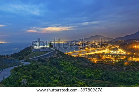 Hong Kong observatory at Tai Lam , sunset - stock photo