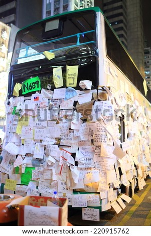 HONG KONG, OCT 1: as protesters occupy the road, bus are forced to stay here in Mongkok on 1 October 2014. after police fire tear shell in peaceful protest on 28 sept, more people join the protest - stock photo