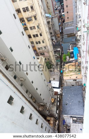 HONG KONG - OCTOBER 06, 2015: Buildings seen from the top.