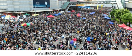 Hong Kong - October 1 2014: Hong Kong Occupy Central Protests. Protesters gather in the streets outside the Hong Kong Government Complex in Admiralty, Hong Kong.