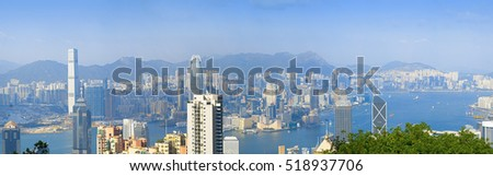 HONG KONG - OCTOBER 15, 2016: Panorama of Hong Kong from Victoria Peak.