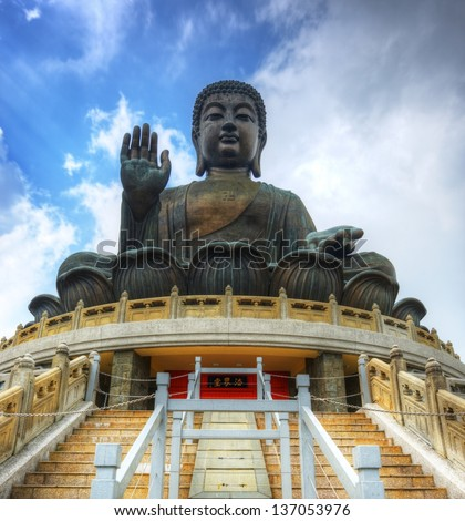 HONG KONG - OCTOBER 15: Tian Tan Buddha October 15, 2012 in Hong Kong, S.A.R. The Great Buddha is 34 meters tall and was the world's tallest outdoor bronze seated Buddha prior to 2007.