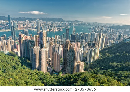 Hong Kong Panorama View from The Peak - stock photo