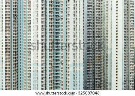 Hong Kong public housing, real estate - stock photo