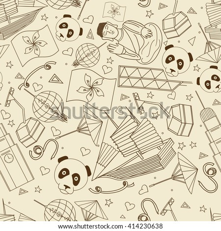 Hong Kong Seamless Retro Line Art Design Raster Illustration Separate Objects Hand Drawn Doodle