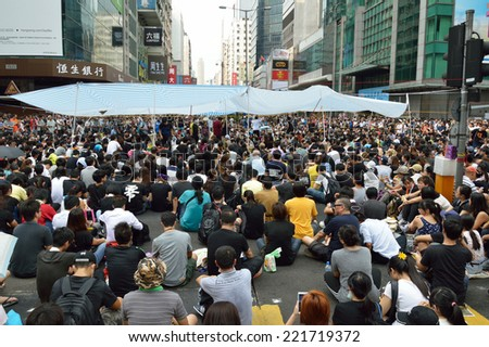 Hong Kong - September 29, 2014: Hong Kong Occupy Central Protests. People protest on the Argyle Street and Nathan Road in Kowloon